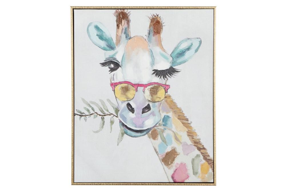 17X21 Inch Colorful Winking Giraffe Canvas Wall Art