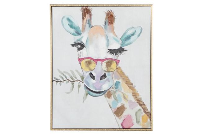 17X21 Inch Colorful Winking Giraffe Canvas Wall Art - 360