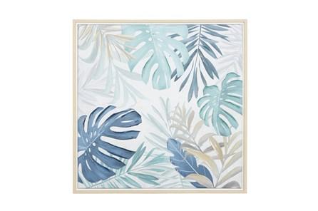 28X28 Inch Blue Monstera Leaf Canvas Wall Art - Main