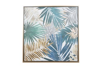 32X32 Inch Blue + Gold Tropical Leaves Canvas Wall Art