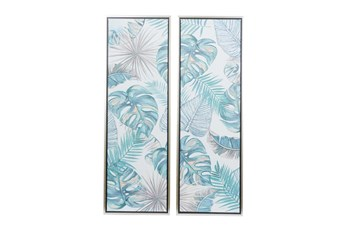 16X48 Inch Pastel Glitter Monstera Leaves Canvas Wall Art- Set Of 2