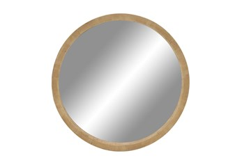 32X32 Inch Natural Wood Framed Round Wall Mirror