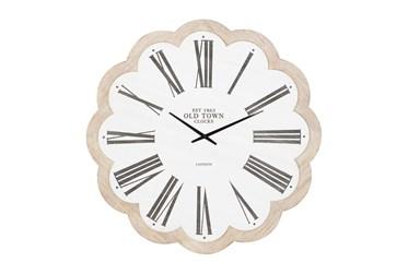 33X33 Inch White Wood Flower Round Wall Clock