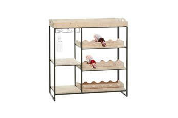 38 Inch Wood + Metal Tray Top Standing Wine Rack