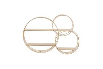 26X37 Inch Gold Metal + Wood Multi Circle Wall Shelf