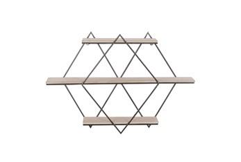 30X20 Inch Metal + Wood Diamonds Wall Shelf