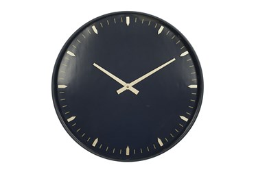 20X20 Inch Black Metal + Glass Round Wall Clock With Black Face
