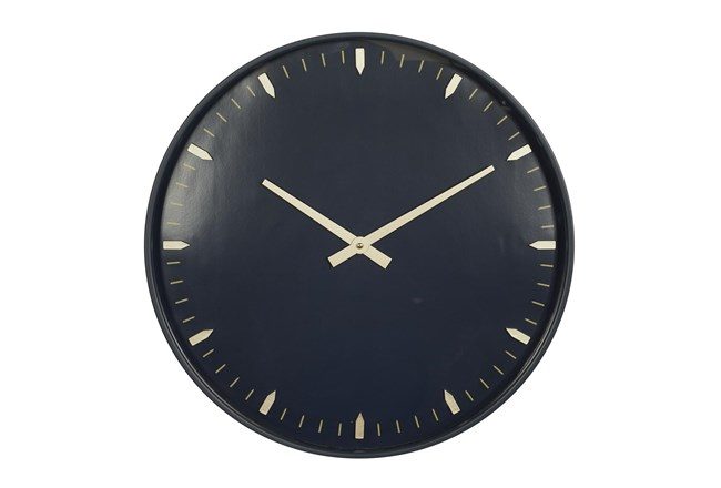 20X20 Inch Black Metal + Glass Round Wall Clock With Black Face - 360