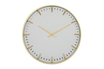 20X20 Inch Gold Metal + Glass Round Wall Clock With White Face