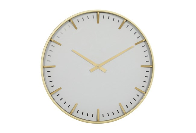 20X20 Inch Gold Metal + Glass Round Wall Clock With White Face - 360