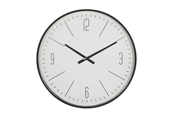 20X20 Inch Black + White Vintage Glass Round Wall Clock