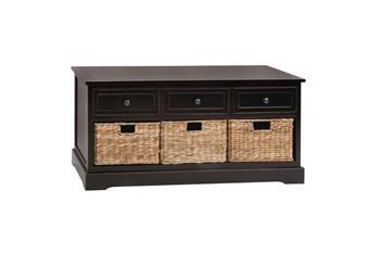 42 Inch Dark Brown Wood Storage Chest With Baskets