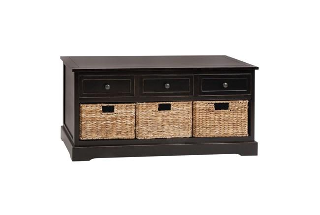 42 Inch Dark Brown Wood Storage Chest With Baskets - 360