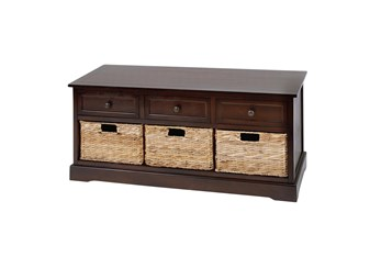 42 Inch Brown Wood Storage Chest With Baskets