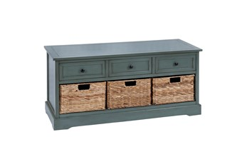 42 Inch Blue Wood Storage Chest With Baskets