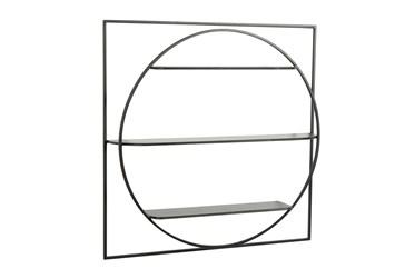 32X32 Black Metal Circle In A Square 3 Tier Wall Shelf