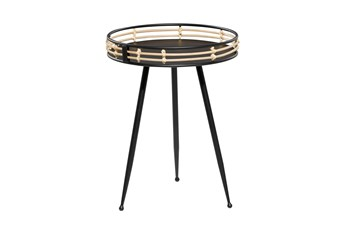 25 Inch Black Metal Accent Table With Rattan Rim