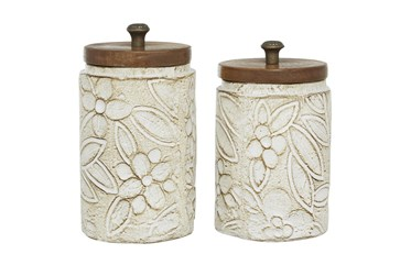 11 Inch White Dolomite Decorative Jar