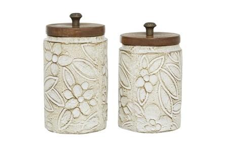 11 Inch White Dolomite Decorative Jar - Main