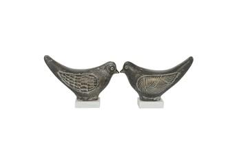 9 Inch Multi Color Bird Ceramic Sculpture Set Of 2