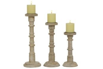 11, 14, & 17 Inch Wood Totem Pillar Candle Holder
