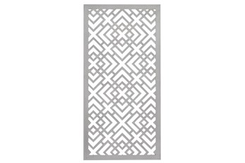 24X48 Inch White Wood Geo Squares Lattice Wall Panel