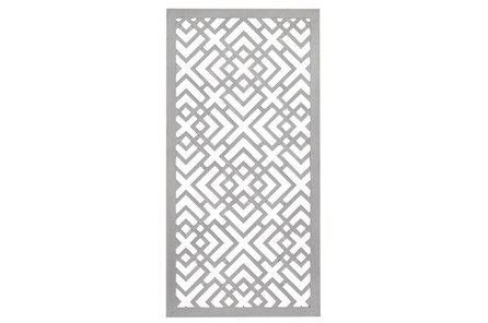 24X48 Inch White Wood Geo Squares Lattice Wall Panel - Main