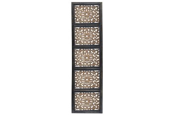 72 Inch Carved Wood 5 Pane Wall Panel