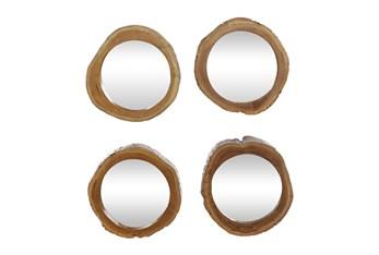 13X13 Inch Brown Teak Wood Wall Mirror Set Of 4