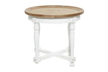 24 Inch White + Natural Weathered Wood Accent Table