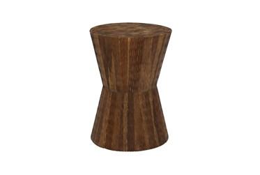 18 Inch Teak Wood Hourglass Stool