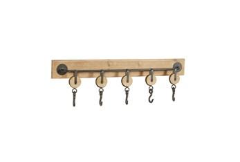 32X10 Inch Brown Wood Wall Hook