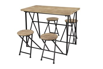 Wood + Metal Counter Table With Fold Up Stools