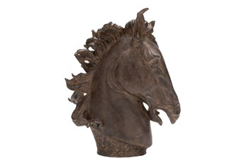 25 Inch Brown Horse Head Polystone Sculpture