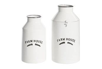 14 Inch White Iron Decorative Jar