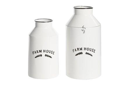 14 Inch White Iron Decorative Jar - Main