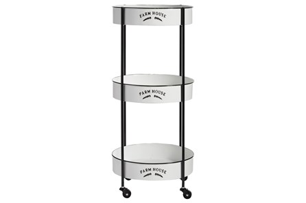Round White Iron 3 Tier Farmhouse Rolling Storage Cart - Main