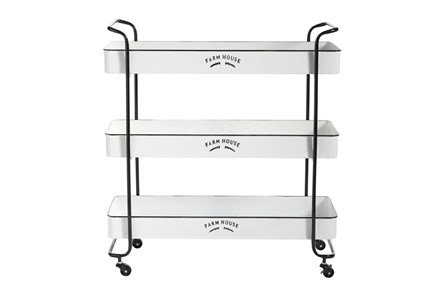 Rectangular White Iron 3 Tier Farmhouse Rolling Storage Cart - Main