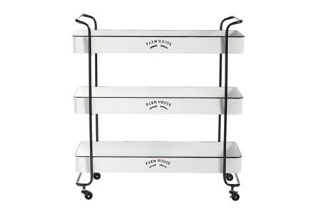 Rectangular White Iron 3 Tier Farmhouse Rolling Storage Cart - Main