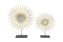 21 Inch and 28 Inch Metal Gold Top Decor Set Of 2