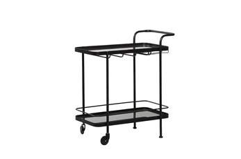 Black Metal + Glass Bar Cart