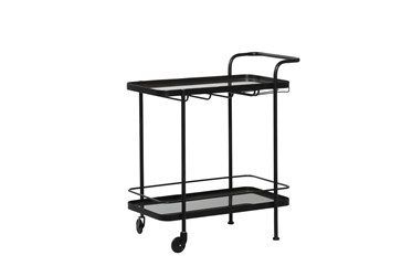 Black Metal + Glass Bar Cart