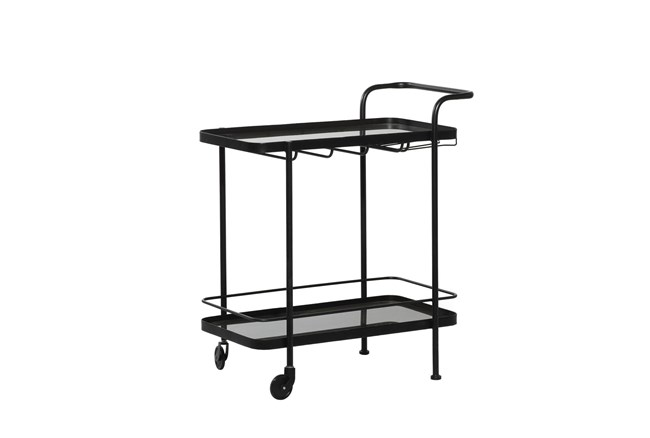 Black Metal + Glass Bar Cart - 360