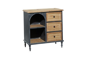 31 Inch Metal + Wood Arched Front Cabinet