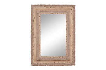 26X36 Inch Brown Wood Wall Mirror