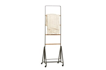 61 Inch Metal + Wood Standing Blanket Ladder On Casters