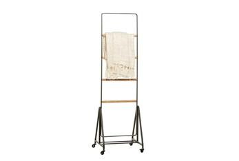 61 Inch Metal + Wood Standing Blanket Ladder On Casters