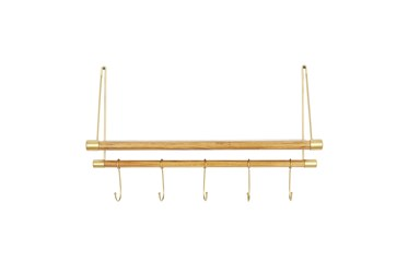23X14 Inch Gold + Wood Wall Shelf With Hooks