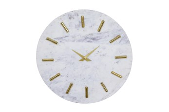 15X15 Inch White Marble + Gold Round Wall Clock