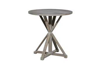 29 Inch Wood Pedestal Round Accent Table